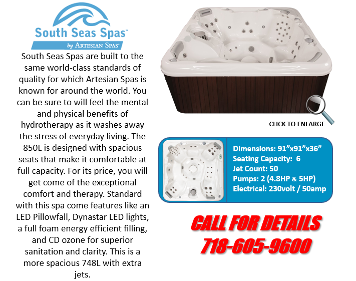 Hot Tub Spa South Seas Spas 850L Artesian Spas Staten Island Pool and Spa
